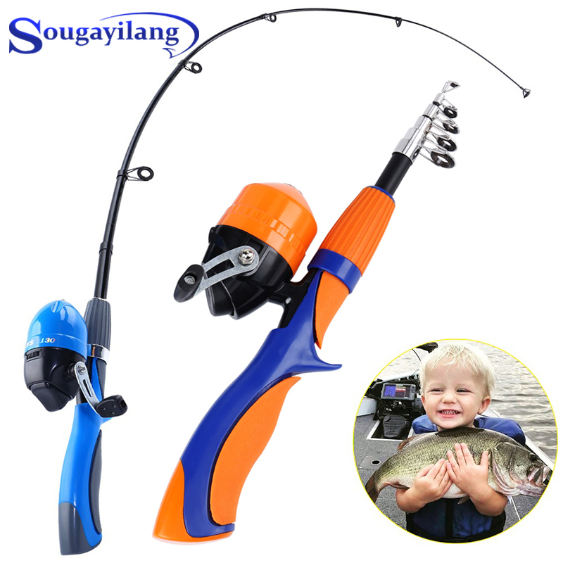 Sougayilang 1.25m/1.6m Ice Fishing Rod And Closed Face Spinning Fishing  Reel Combo Fishing Tackle Set Telescopic Rod For Child