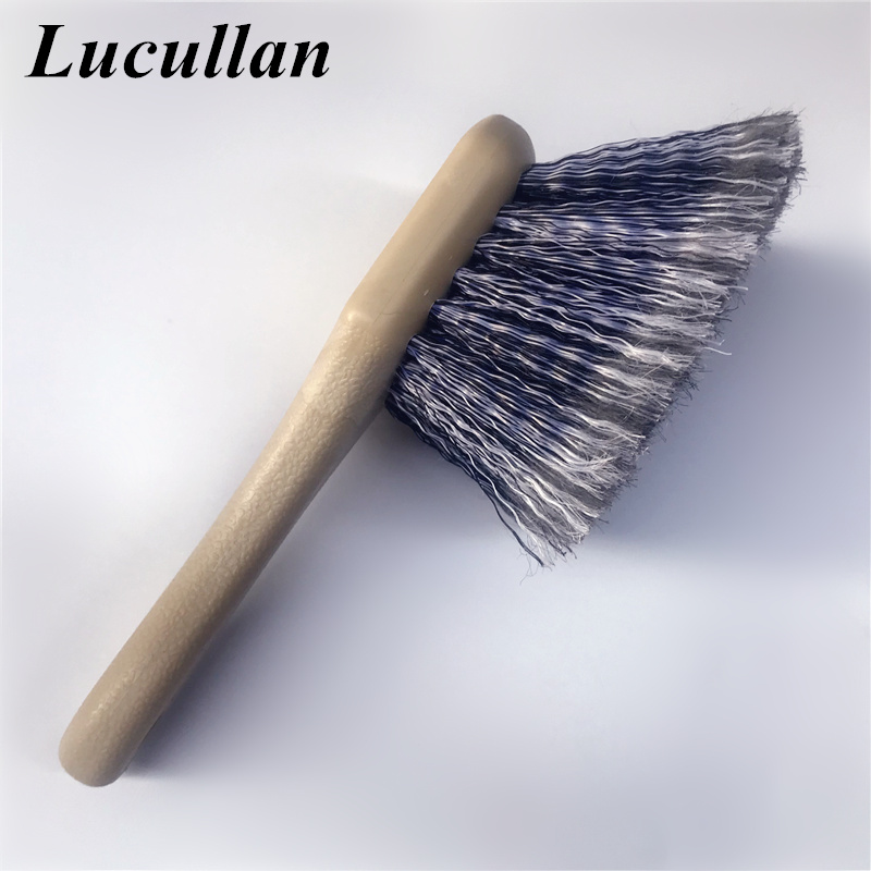 Lucullan New Soft Hair Scratch-Free Wheel/Tire Brush Short Handle Special Design Grey Brush For Clean Tires,Rims And Inner Fende