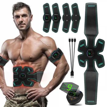 USB akumulator elektryczny stymulator mięśni brzucha masaż wyszczuplający Unisex trener EMS ćwiczenia LCD mięśni trening ciała biegów tanie i dobre opinie Belt Type Książka C25205 Black Rechargeable Digital display