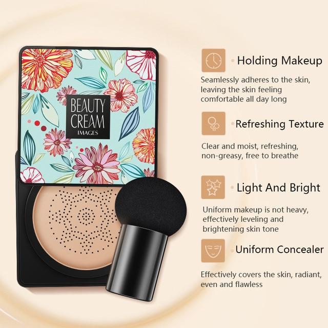 BB Air Cushion Foundation Mushroom Head CC Cream Concealer Whitening Makeup Cosmetic Waterproof Brighten Face Base Tone 2