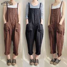 RONNYKISE Cotton and Linen Overalls Womens Fashion Plus Size Long Jumpsuits Summer Autumn Casual Loose Jumpers Women Clothes
