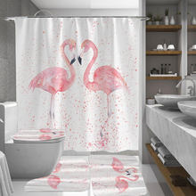 1/3/4Pcs 3D Flamingo Waterproof Shower Curtain Mildew proof Toilet Cover Non-slip Mat 3pcs Toilet Bathroom Decor with 12 Hooks(China)