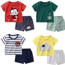0-6Y dzieci odzież dla niemowląt 2 sztuk/zestaw bawełna lato dziecko dzieci miękkie szorty T-shirt Todder chłopiec dziewczyna dzieci Cartoon śliczne zagraj ubrania