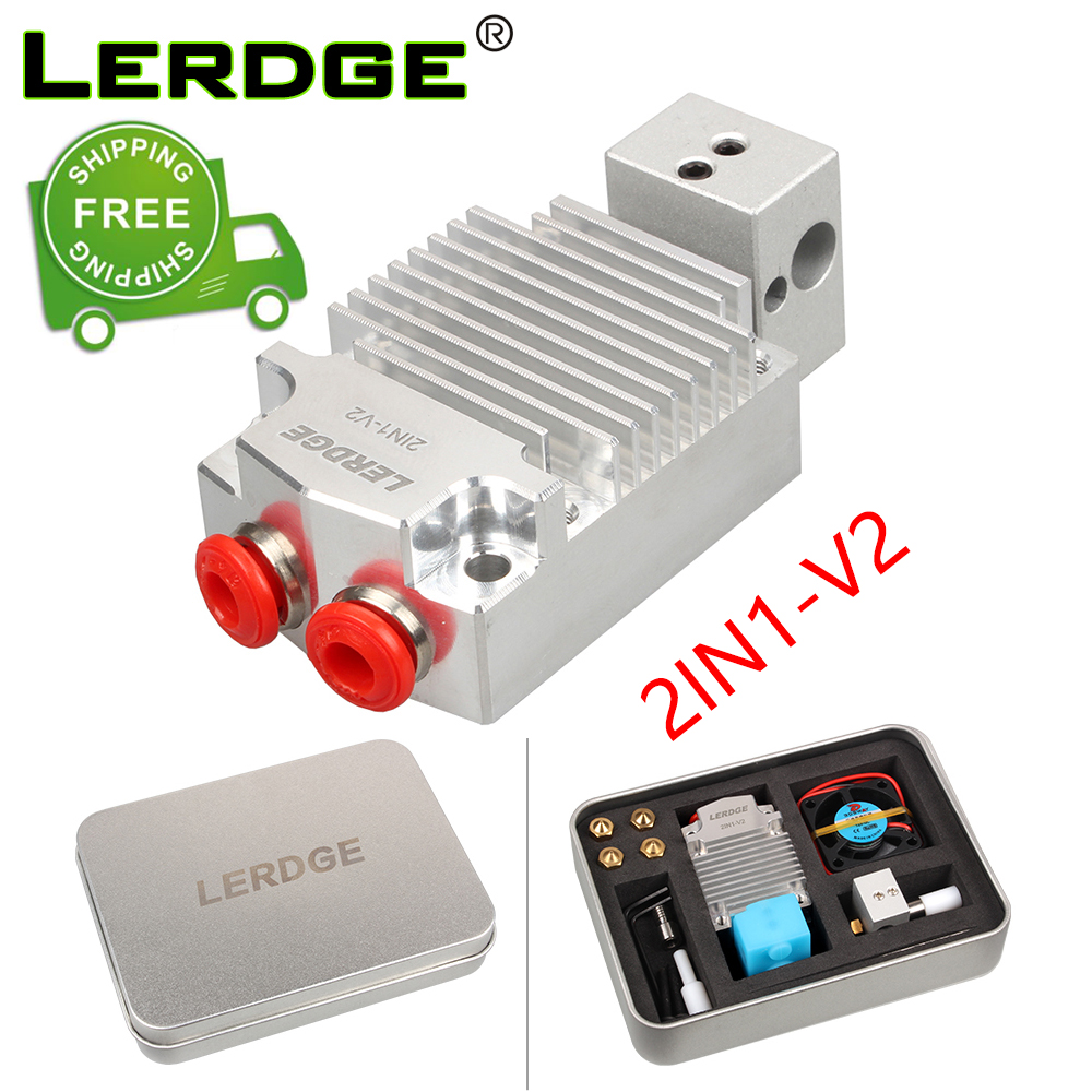 LERDGE 2IN1-V2 Hontend 2 Nozzle Color Switching Hotend Diy kit 3D Printer Parts Double color print head Extruder 0 4 1 75mm gift