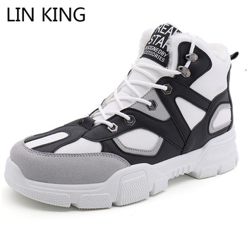 LIN KING New Men Snow Boots Lace Up Winter Ankle Botas Thick Sole Warm Fur Short Boots Anti Skid Cotton Shoes Sneakers Big Size