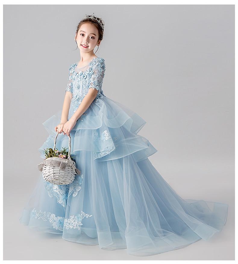 Perles Appliques fleur fille robe de mariée longue traînée robe filles Pageant vêtements d'anniversaire enfants première Communion robe de fête