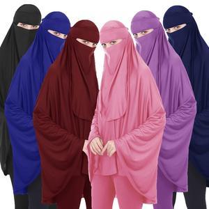 Image 1 - 2PCS מוסלמי נשים ניקאב ארוך Khimar חיג אב צעיף צעיף עמירה Abaya האסלאמי Colthes תקורה תפילה ערבית בגד + צעיף הבורקה העבאיה