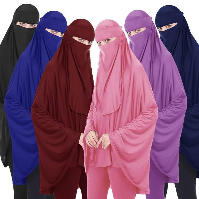 2PCS Muslim Women Niqab Long Khimar Hijab Veil Scarf Amira Abaya Islamic Colthes Overhead Arab Prayer Garment +Veil Burqa Abaya