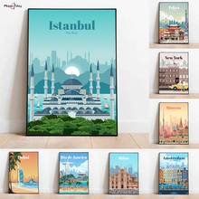 World Famous City Landmarks Photos New York Istanbul Tokyo Morocco Canvas Painting Wall Art Decorative Posters Room Home Decor