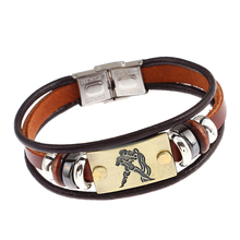 constellations punk bracelet beaded for men leather bracelets women with clasp  student