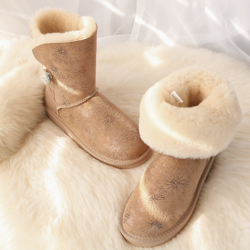 Winter Sheepskin Snow Boots Natural Wool Inside Luxury Bucklk Mid Calf Boots Waterproof Warm Shoes Barrel Flat Girls Shoes