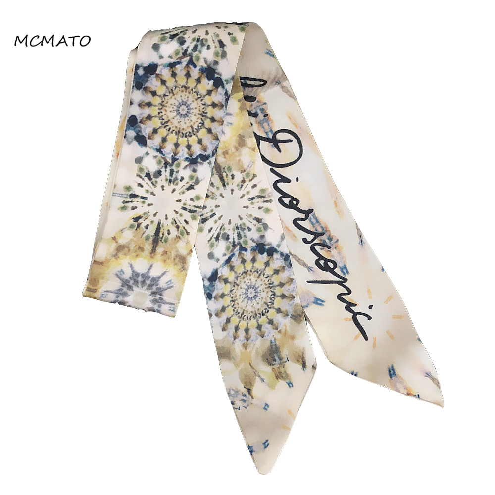 Ink Painting Print Big Luxury Woman Twilly Silk Scarf Brand 100cm*6cm Long Small Head Scarf Bag Ribbons Kerchief Ladies Tie