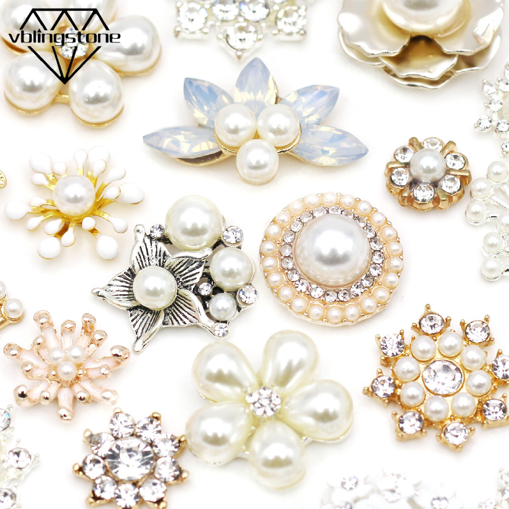 10 Crystal Rhinestone Button Flat Back Wedding Dress Hair Accessory DIY 28mm