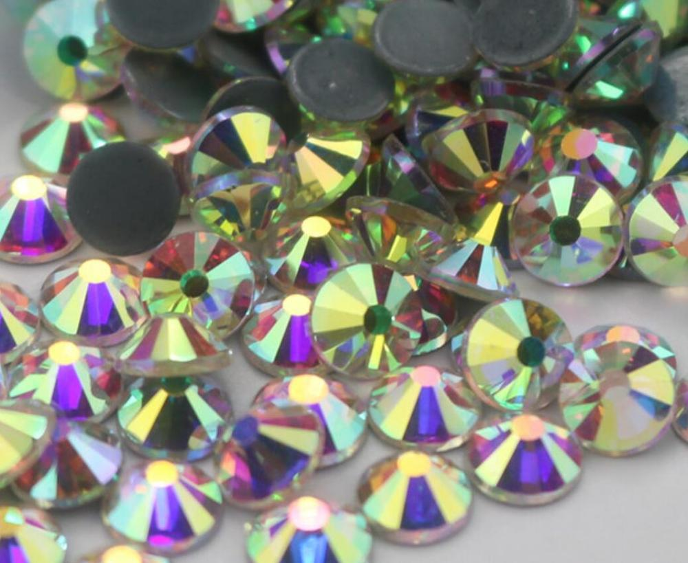 Top Quality Crystal AB Hot fix Rhinestones Super Bright  Glass Strass Iron On stones For Fabric garment/Nail Art/clothes DIY|Rhinestones|   - AliExpress