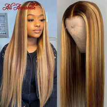 Evidenzia parrucca parrucche di capelli umani di colore marrone Ali Annabelle parrucca di chiusura 4x4 bionda diritta evidenzia parrucche di capelli umani anteriori in pizzo