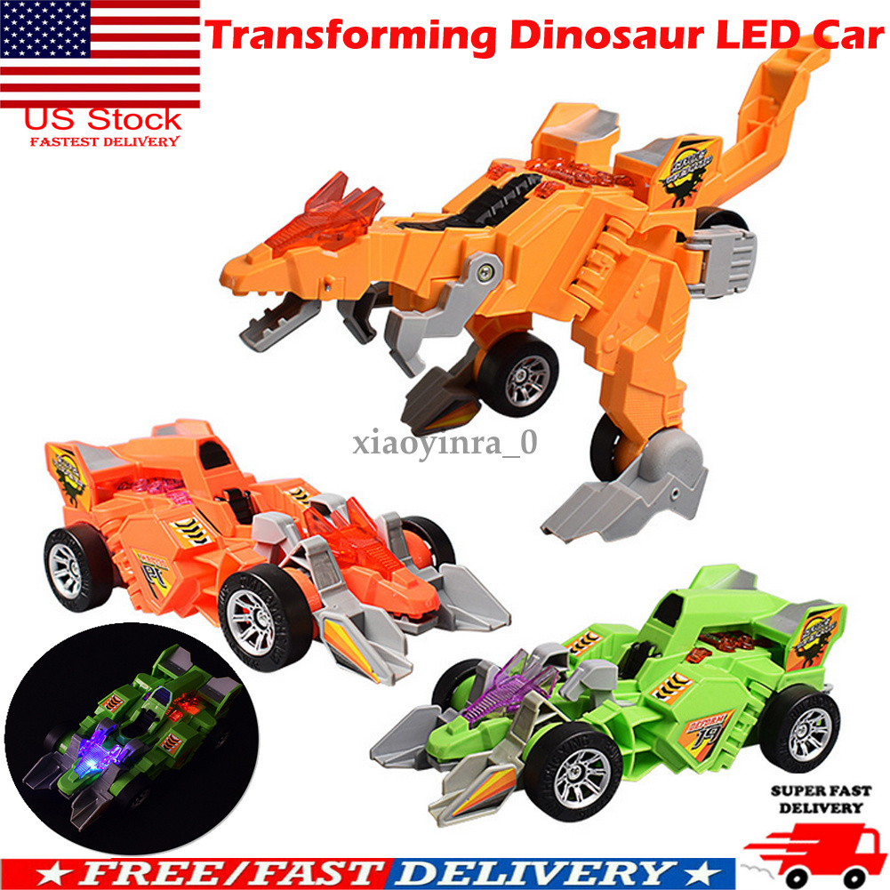 US Transforming Dinosaur LED Car T-Rex Toys With Light Sound Kids Electric Toys