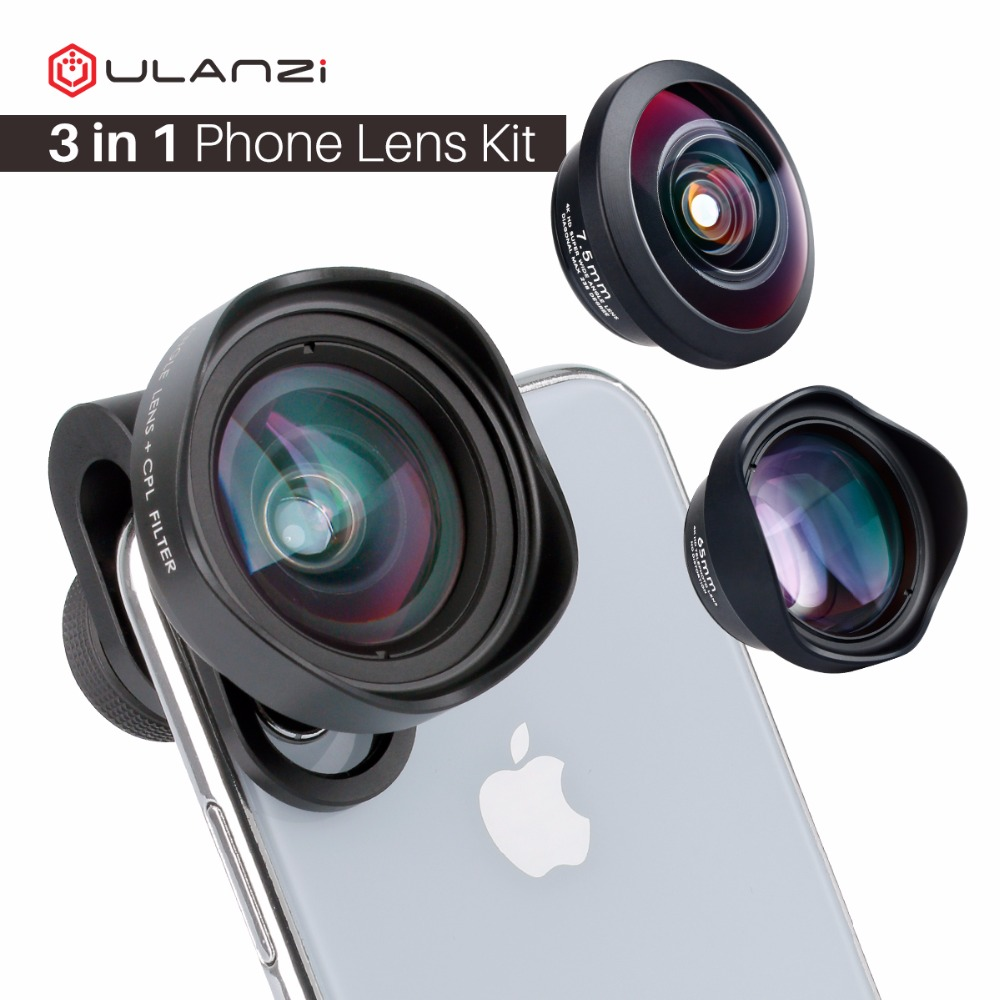 ULANZI 3in1 16mm Wide Angel / 7.5mm 238 Degree Fishese/ 65mm 2X 