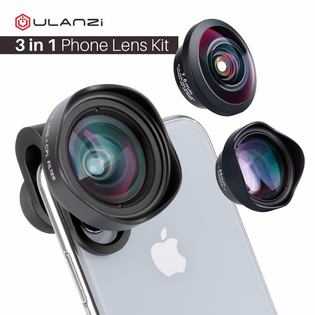 ULANZI 3in1 16mm Wide Angle / 7.5mm 238 Degree Fisheye/ 65mm 2X Telephoto Portrait Phone Camera Lens for iPhone Samsung Mobile