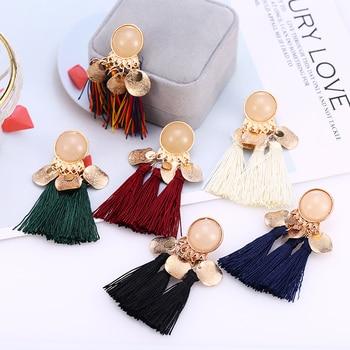 HOCOLE Boho Long Tassel Earrings 2019 Bohemian Big For Women Resin Gold Drop Earring Fashion Jewelry Brincos