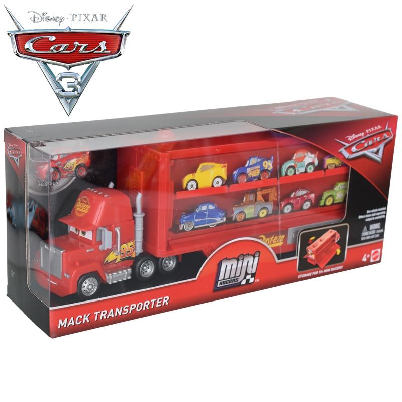 Original disney pixar carros mini pilotos relâmpago mcqueen mack transportador caminhão brinquedos conjunto flg70 diecastas veículos de brinquedo menino presente