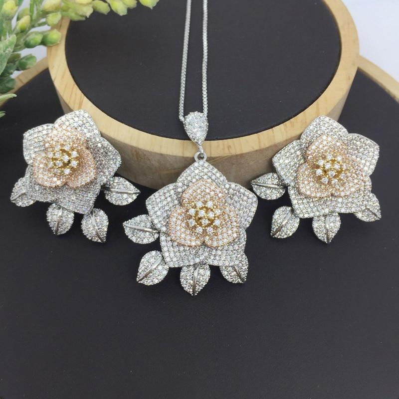 Lanyika Mode Schmuck Graceful Stereo Rose Voll Micro Pflastern Halskette mit Ohrringe für Jahrestag Engagement Luxus Beste Geschenke