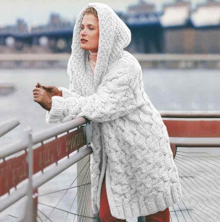 오픈 전면 두 톤 니트 카디 건 여성 의류 긴 소매 가을 높은 칼라 캐주얼 스웨터와 주머니