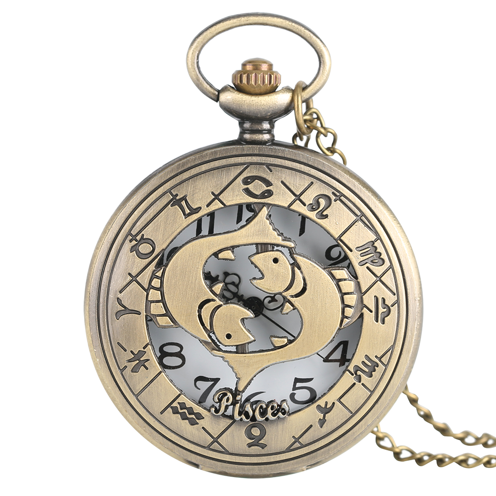 Retro Pisces Quartz Pocket Watch Fashion Women Men Bronze Necklace Pendant Modern Half Hunter Fob Watch