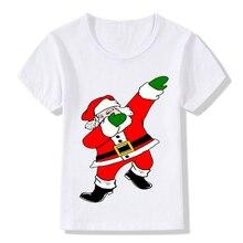 Детская футболка с короткими рукавами и круглым воротником с Санта-Клаусом, летний топ с рисунком, FK88