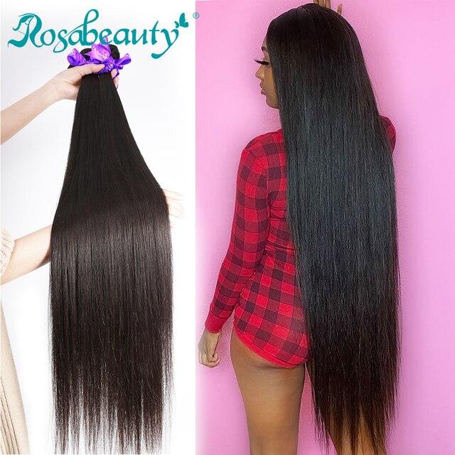 RosaBeauty 28 30 32 40 אינץ טבעי צבע ברזילאי שיער Weave 1 3 4 חבילות ישר 100% רמי שיער טבעי הרחבות ערב עסקות