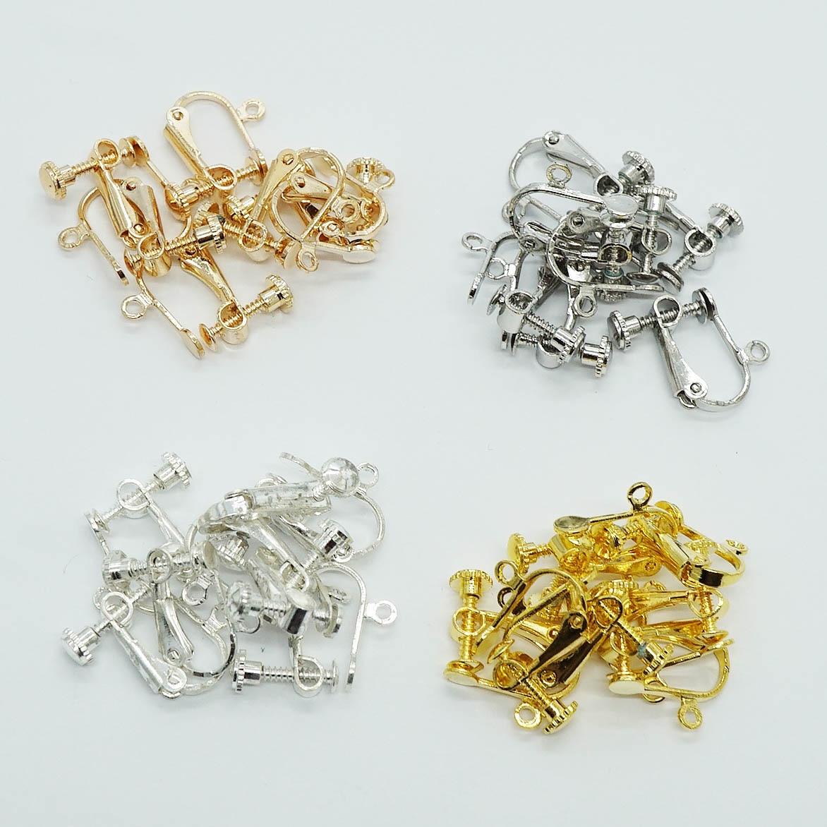 Clip-on Pendientes,16 Piezas de Convertidores de Aretes Ajustable Components Metal sin Agujero de la Oreja para Hacer Pendientes,4 Colores
