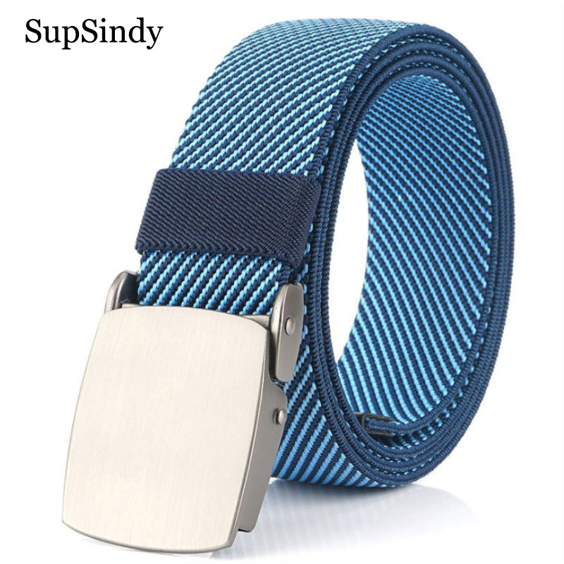 SupSindy Men Stretch Elastic Nylon Canvas Belt Fashion Metal Automatic Buckle Jeans Belts For Women Casual Waistband Male Strap