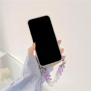 Image 4 - Custodie per telefoni con bracciale a farfalla sfumata per iphone 12 11 Pro XS Max X XR 7 8 Plus SE Mini Hand Chain Soft TPU Cover posteriore