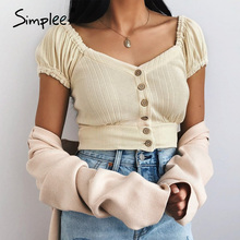 Shirt Button Women Blouse Simplee Spring Summer Vintage Short-Sleeve Knit Chic Yellow