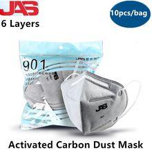 Masques anti-poussière industriels charbon actif 6 couches masques de protection respirant anti smog particules masque facial 10 pièces/sac