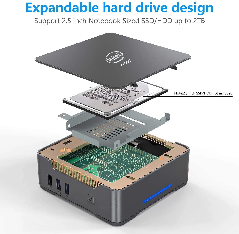 GK3V Windows 10 Pro Key Mini PC Intel Gemini Lake J4125 8GB DDR4 128GB 256GB 512GB SSD Gaming PC 2.4G5G WiFi 1000M Mini Computer 4
