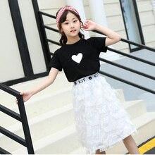 Детская одежда летняя футболка из чистого хлопка модная юбка с буквенным принтом Одежда для девочек комплект из двух предметов, Лидер продаж года, качественная детская одежда для sale3-10 лет
