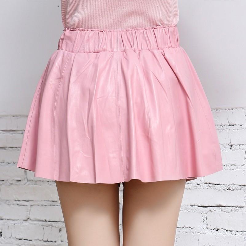 Fashion Elastic Waist Genuine Leather Slim A-Line Shorts Skirts Women 11 Color Casual Pleated Shorts Skirts Female Streetwear