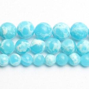 6/8/10 мм; Небесно-Голубой цвет морской камень из осадочной породы кость круглые промежуточные бусины для самостоятельного изготовления брас...