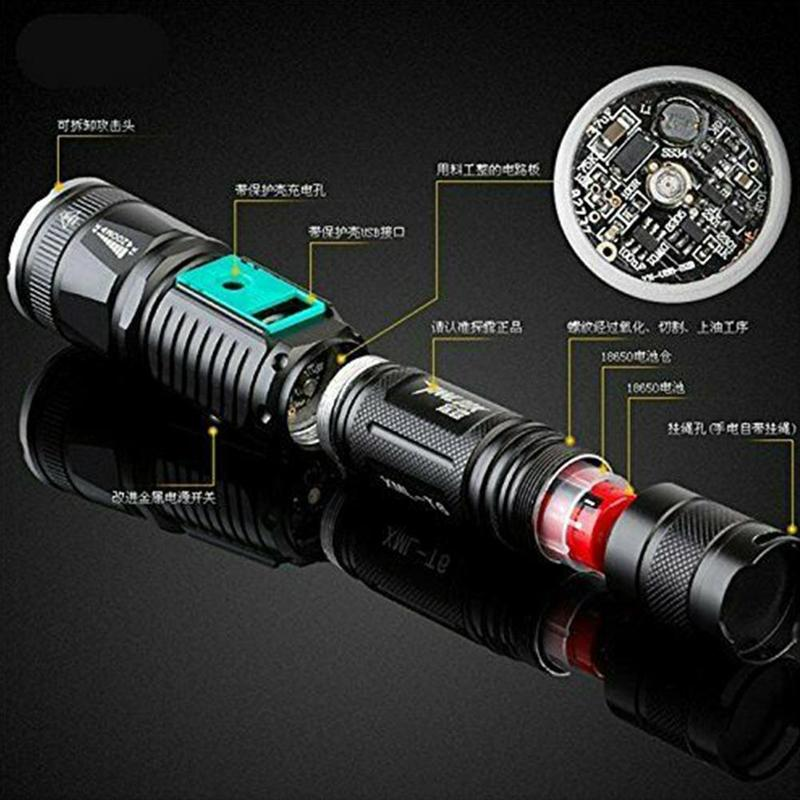 T6 Led Flashlight 40000 Lumens Lighting Zoomable Modes 18650 Battery Outdoor Penlight