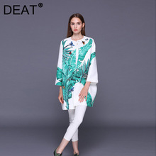 DEAT Woman Coat Print Diamonds Round Collar Long Sleeve Loose Waist Single Breasted Casual Style 2021 New Summer 15XM190
