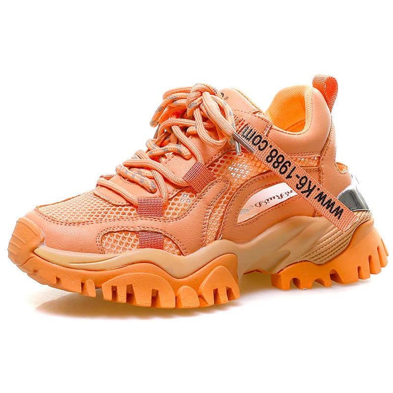 Thời Trang Nêm Sneakers Nữ Đế Dày Chun Giày Giày Đế Rổ Femme Vulcanize 2020 Zapatos Para Mujer