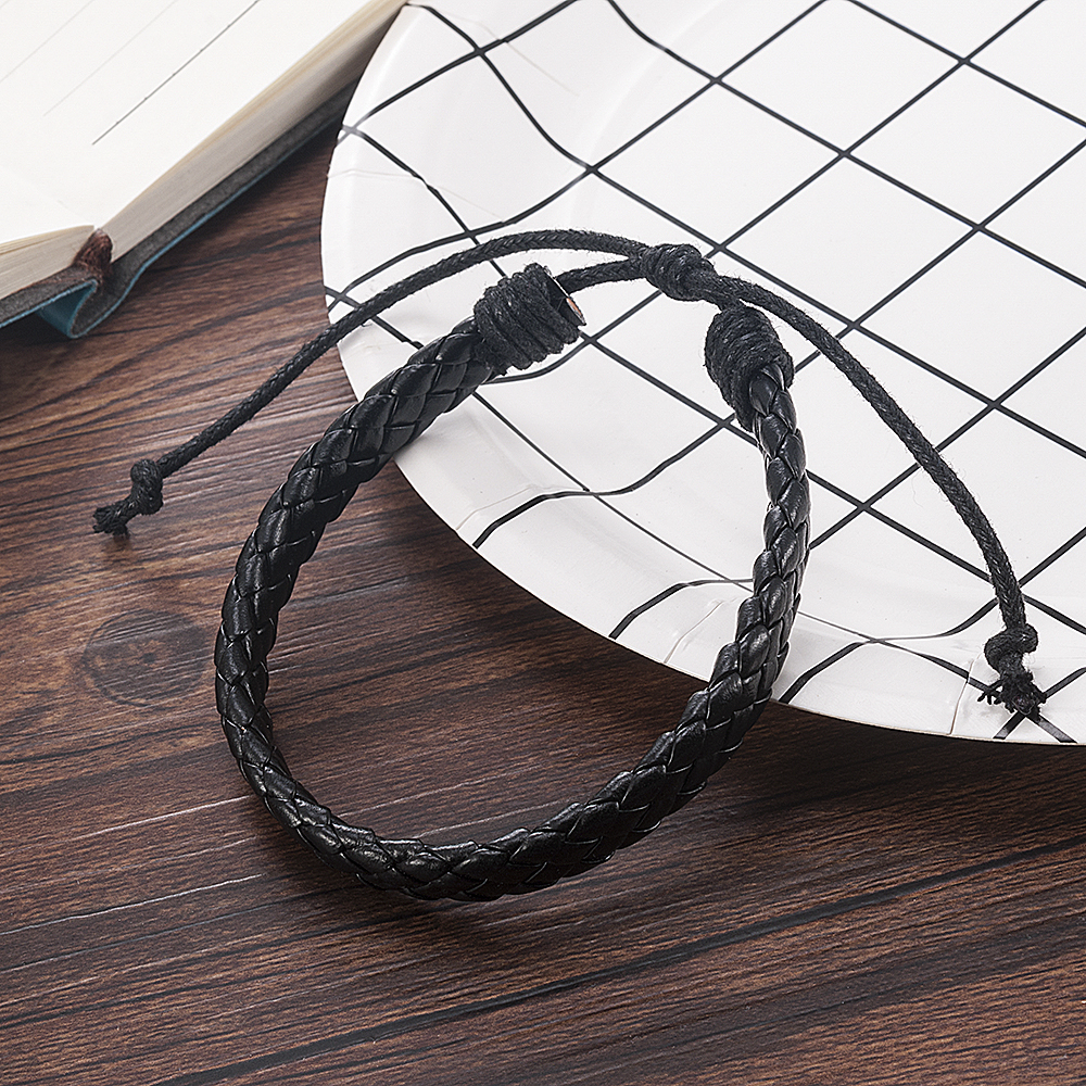 Fashion Men Black Weave Leather Simple Adjustable Bracelet Bangle Cuff Rope Bracelet Jewelry Gift For Boyfriend