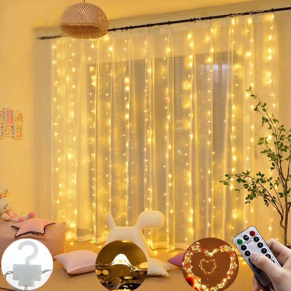 00 LEDs Window Curtain Twinkle Star USB Remote Control 8 Modes String Lights Outdoor String Lights