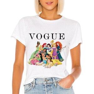 Pocahontas Graphic 2020 летняя футболка принцессы Vogue Femme забавные корейские Топы Kawaii футболка Аврора Белоснежка Ариэль Белль