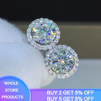 YANHUI With Certificate Original 925 Sterling Silver 6mm Small Lab Diamond  Stud Earring Earrings For Women Girl Birthday Gift hope jahren lab girl