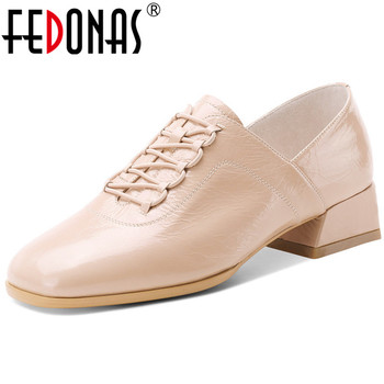 FEDONAS Sweet Lace Up Single Women Shoes Genuine Leather Chunky Heels Pumps 2020 Spring Summer Square Toe Casual Shoes Woman