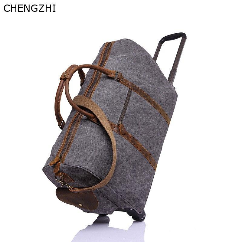 Bolso de viaje con ruedas de cuero y Caballo loco para hombre, bolso de mensajero portátil retro multifunción, bolso de viaje de lona para hombre - 2