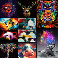 DIY Painting Frame Animals Colorful Owl Diy Painting By Numbers Kit Modern Wall Art Picture Acrylic Paint By Numbers For Gift