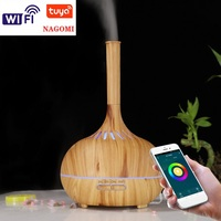 Ultrasonic Air Humidifier Tuya APP Control 400ml Aroma Essential Oil Diffuser Mist Maker Humidifier 7 Color Night Light Home SPA