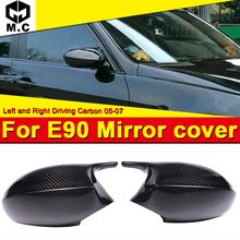 For BMW E90 Sedan Side Mirror Cover Cap Add on Style 1:1 Replacement 3 Series M3 Look 100% Vacuumed Dry Carbon Fiber 2-Pcs 05-07